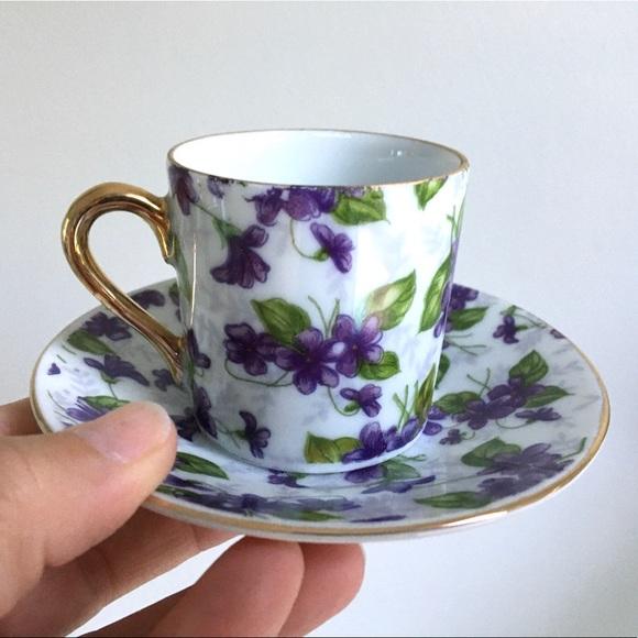 Vintage Inarco Japanese Demitasse Violet Set